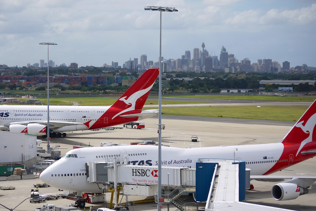A Qantas 747 and A380 at Sydney Airport