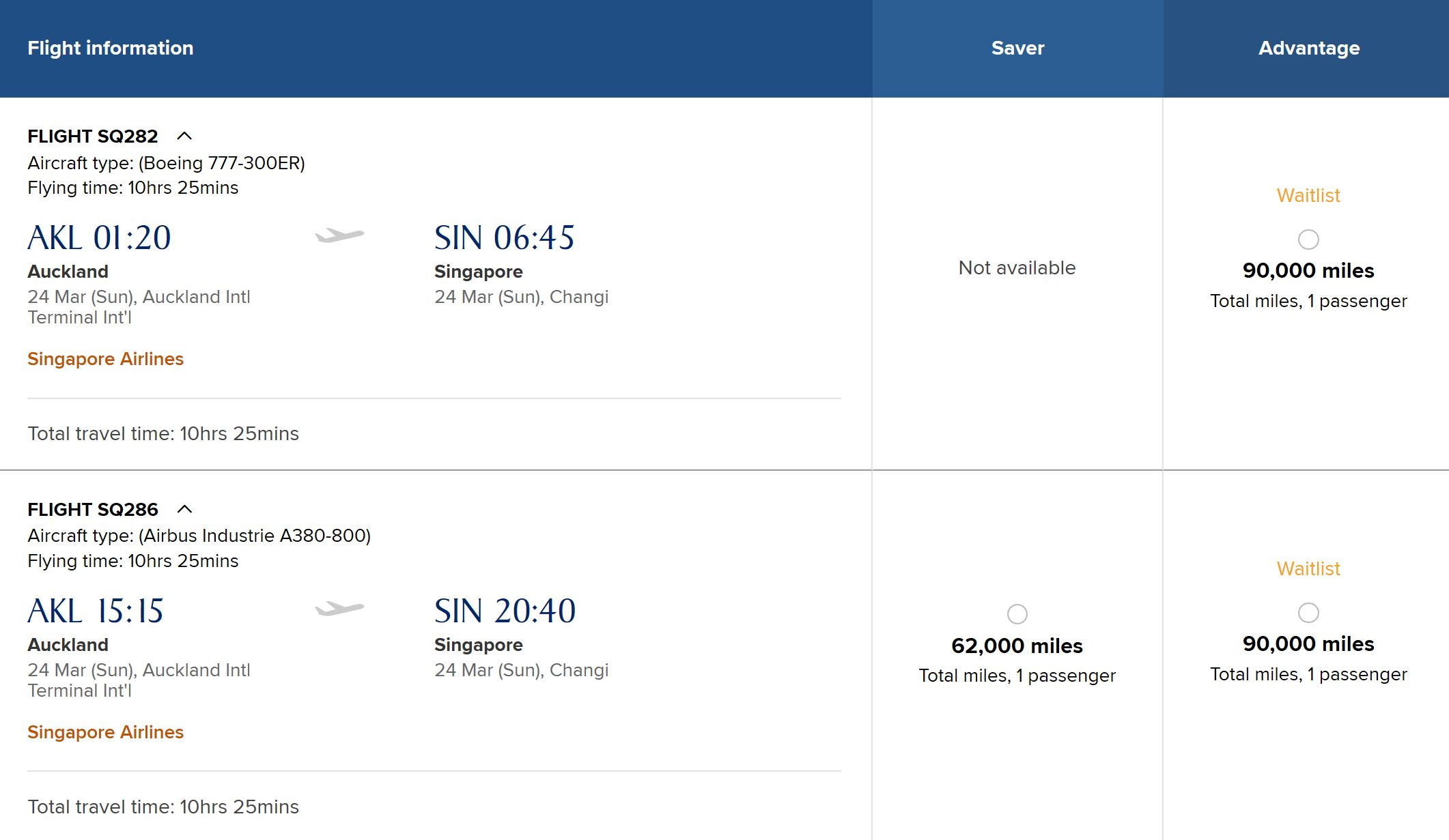 Singapore Airlines Example Booking | Point Hacks