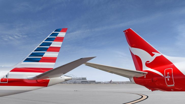 Qantas American Airlines airplane tails
